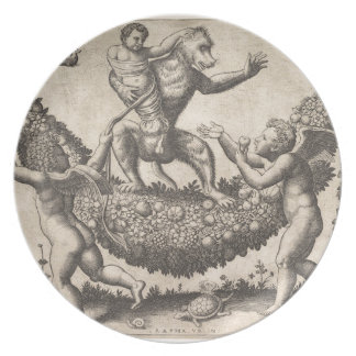 A monkey holding a bound putto standing on a garla plate