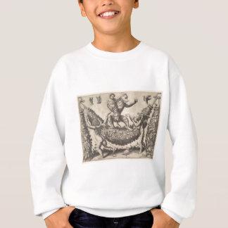 A monkey holding a bound putto standing on a garla sweatshirt