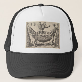A monkey holding a bound putto standing on a garla trucker hat