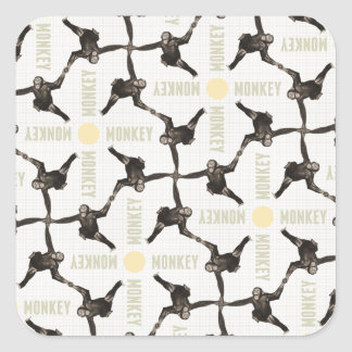 A Monkey Scene Square Sticker