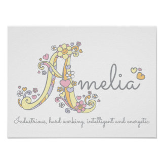 A monogram art Amelia girls name meaning poster