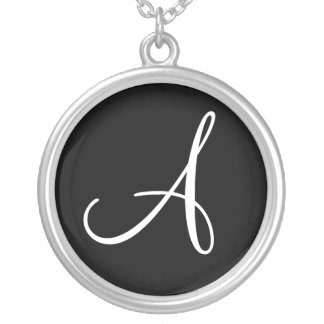 A Monogram Custom Round Sterling Silver Charm Silver Plated Necklace