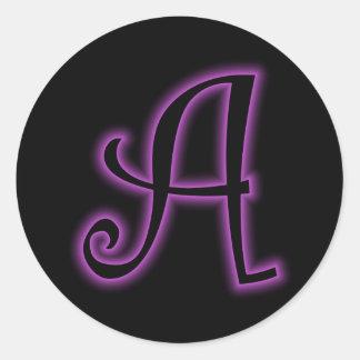 A Monogram Purple Neon Classic Round Sticker