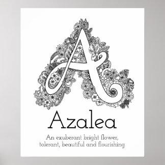 A monogram tangle art Azalea name meaning Poster