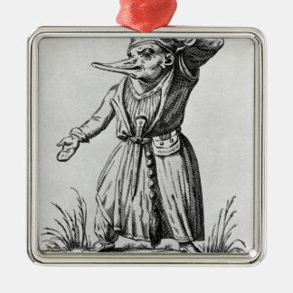 A Monster, 'Les Songes Drolatiques de Pantagruel' Silver-Colored Square Ornament