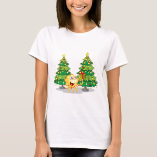 A monster near the two green christmas trees T-Shirt