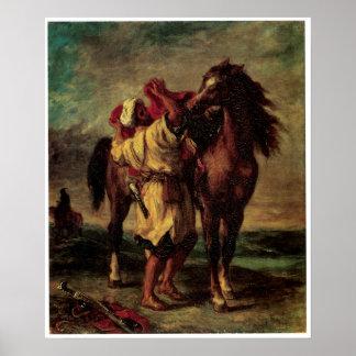 A Moraccan Saddling a Horse, Eugene Delacroix Poster