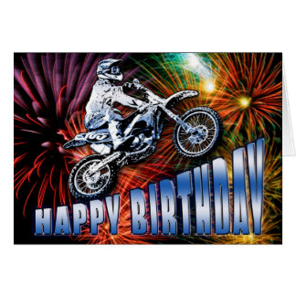 A motocross star's birthday card