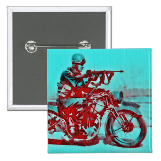 A Motorcycle Soldier WWII 2 Inch Square Button