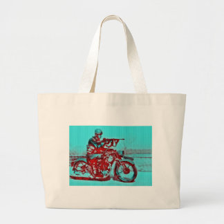 A Motorcycle Soldier WWII Large Tote Bag