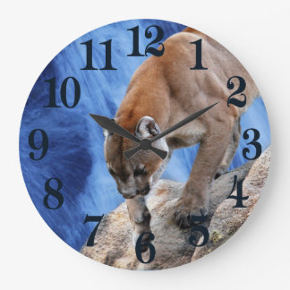 A mountain lion at the waterfall large clock
