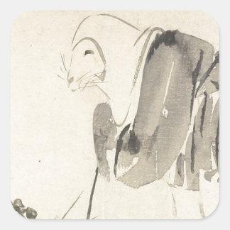 A Mouse as a Monk by Shibata Zeshin Square Sticker
