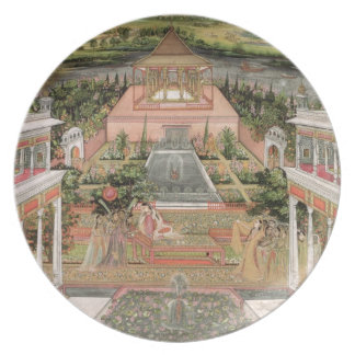 A Mughal Princess in her Garden (gouache on paper) Party Plates