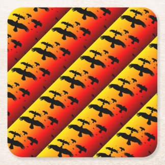 A Murder of Crows Against A Haunting Sunset Square Paper Coaster