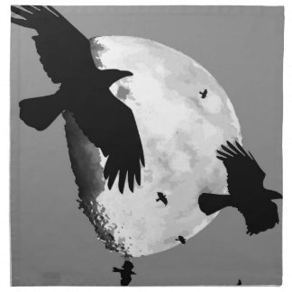 A Murder Of Crows And Moon Napkin