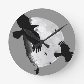 A Murder Of Crows And Moon Round Clock