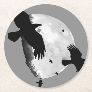 A Murder Of Crows And Moon Round Paper Coaster