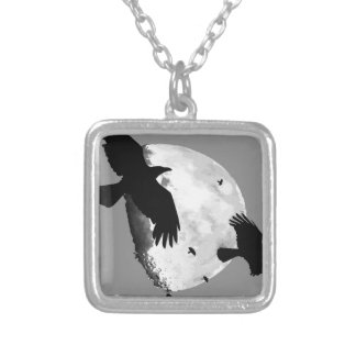 A Murder Of Crows And Moon Silver Plated Necklace