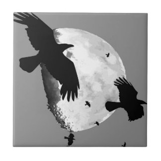 A Murder Of Crows And Moon Tile