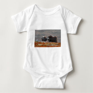 A Musk Ox and Calf Baby Bodysuit