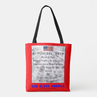 A Nation Divided-GOD BLESS AMERICA in Blue Letters Tote Bag