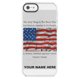 A Nation Divided (LETTERS OUTLINED) Clear iPhone SE/5/5s Case