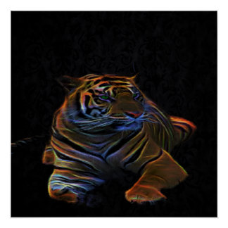 A neon tiger poster perfect poster