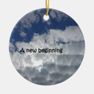 A new beginning round ceramic ornament