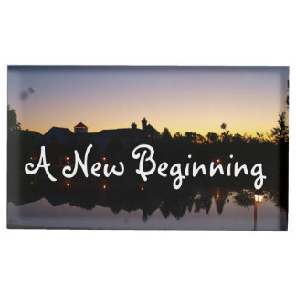 A New Beginning Wedding Phrase With Sunrise Photo Table Card Holders