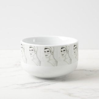 A New Flapper Girl Soup Bowl With Handle