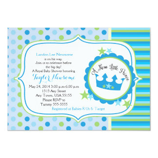 A new little prince baby boy shower invitation