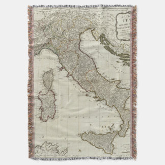 A new map of Italy with the islands of Sicily Throw Blanket