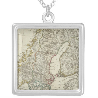 A new map of the Northern States Silver Plated Necklace