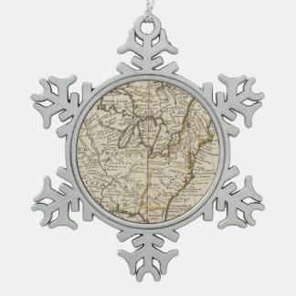 A new map of ye north parts of America Pewter Snowflake Ornament