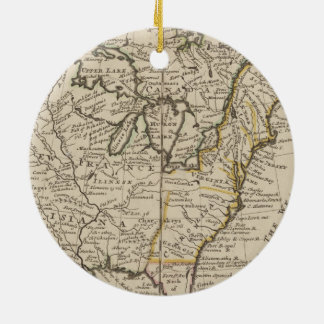 A new map of ye north parts of America Round Ceramic Ornament