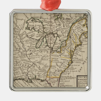 A new map of ye north parts of America Silver-Colored Square Ornament