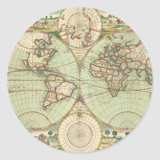 A new mapp of the world - Atlas Classic Round Sticker