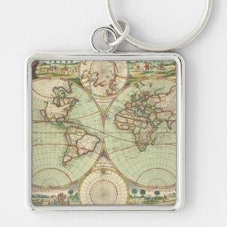 A new mapp of the world - Atlas Silver-Colored Square Keychain