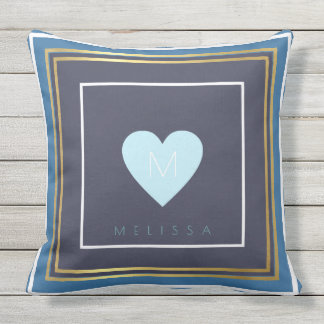 A nice design of square borders with a blue heart outdoor pillow