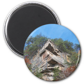 A Nice Rustic Cliff and Trees 2 Inch Round Magnet