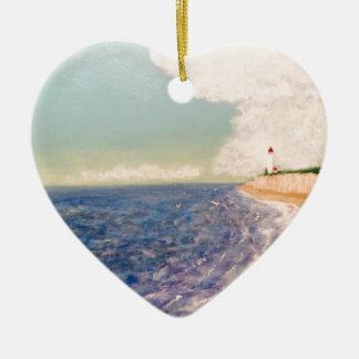 A  Nice Sandy Beach Ceramic Heart Ornament