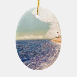 A  Nice Sandy Beach Ceramic Oval Ornament