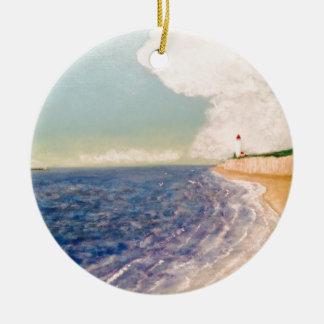 A  Nice Sandy Beach Round Ceramic Ornament
