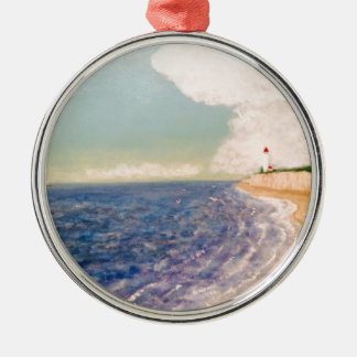 A  Nice Sandy Beach Silver-Colored Round Ornament