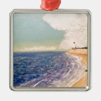 A  Nice Sandy Beach Silver-Colored Square Ornament