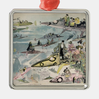 A Night at the Opera in the Year 2000 - 1882 Silver-Colored Square Ornament