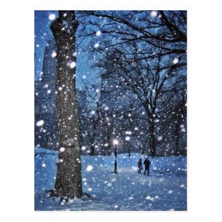 A Nighttime Walk Through Winter Snow Postcard