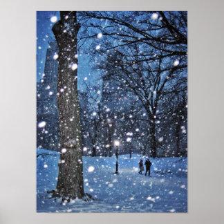 A Nighttime Walk Through Winter Snow Poster