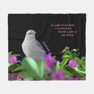 A Northern Mocking Bird with Purple & Green Leaves Fleece Blanket