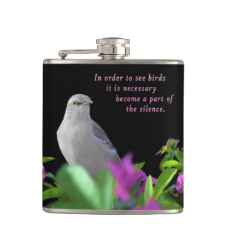 A Northern Mocking Bird with Purple & Green Leaves Hip Flask